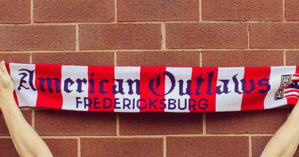 Traditional soccer scarf with stripes and team name