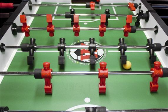 Foosball table top.