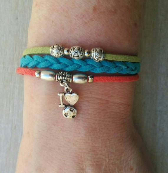 Bracelet with soccer charm.