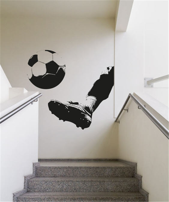 Soccer ball being kicked wall decal
