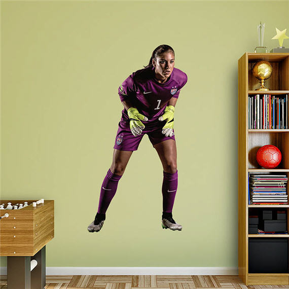 Lifelike, full size, soccer player wall decal.