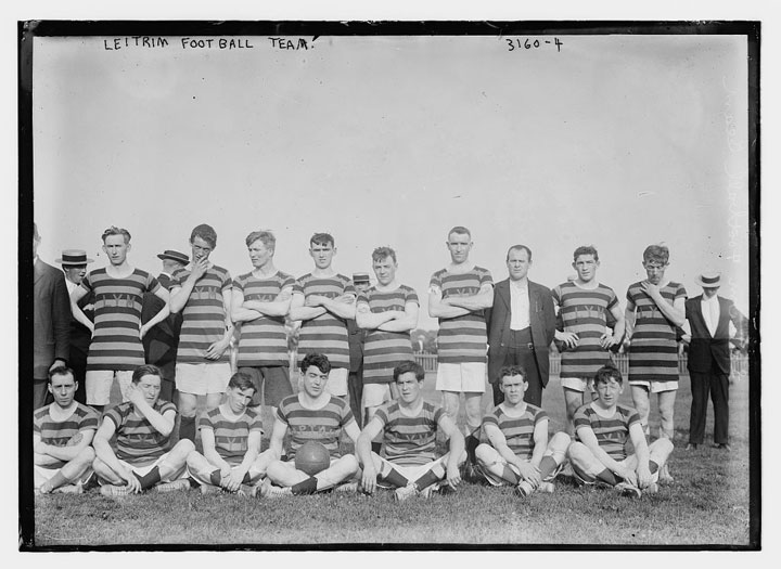 An old and weathered black and white image of the Leitrim Football team circa 1910.