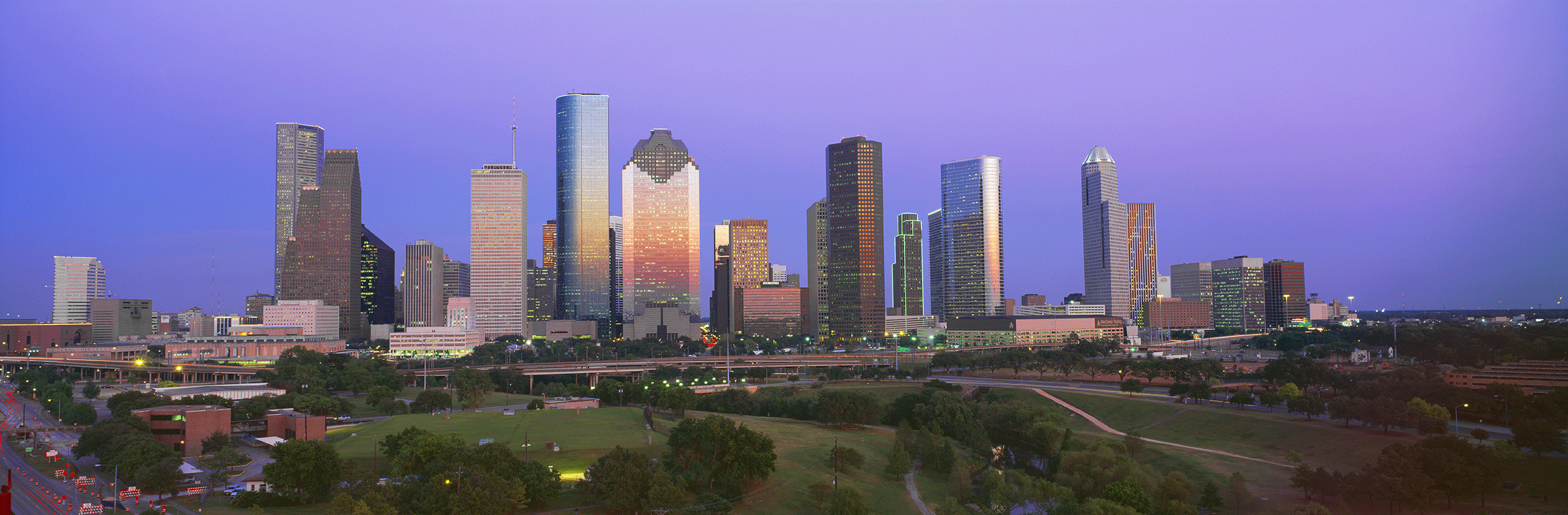 Houston, TX skyline from a distance.