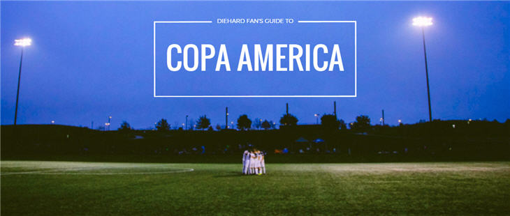 Soccer player huddled on a field. Guide to COPA America written above.
