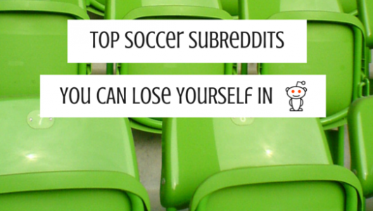 Green stadium chairs with the text top soccer subreddits to lose yourself in.