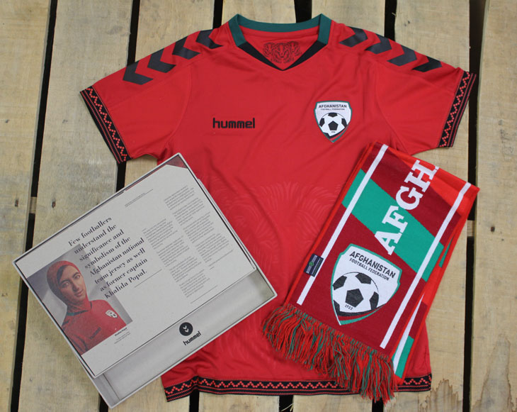 Women's Afghanistan National Team kit and soccer scarf.