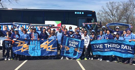 A big group of Third Rail FC members on game day.