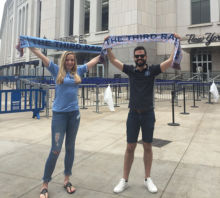 Third Rail FC members outside Yankee Stadium.