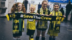 #SavetheCrew supporter group showing off their Diehard scarf in group colors