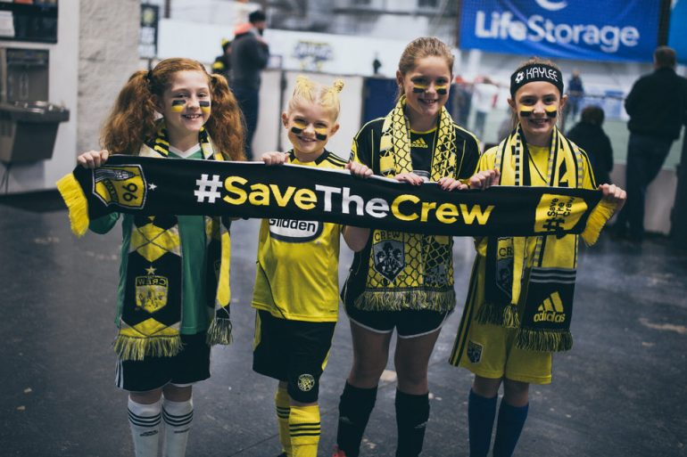 Young fans of Columbus Crew's supporter group, Save The Crew