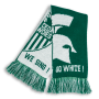 green and white classic knit scarf with crusader helmet logo designed by Diehard Custom