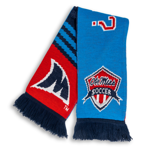 red and blue classic knit soccer scarf designed by Diehard Custom