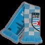 light blue and grey classic knit scarf with city skyline designed by Diehard Custom