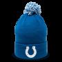 light blue pom beanie with white horseshoe logo in the bottom center designed by Diehard Custom
