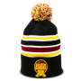 black, yellow, white and red striped pom beanie with logo at the bottom center designed by Diehard Custom