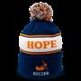 blue, orange, and white pom beanie with hope written across the center and soccer at the bottom center designed Diehard Custom