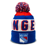 red, white, and blue New York Rangers hockey pom beanie with logo in bottom center designed by Diehard Custom