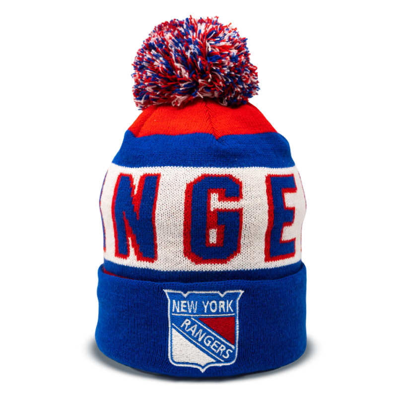 red, white, and blue New York Rangers hockey pom beanie with logo in bottom center designed by Diehard Custom