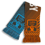 blue and orange scarf design with New York City soccer club logo and diagonal stripes designed by Diehard Custom
