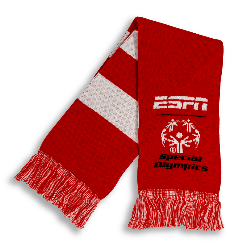 red and white ESPN Special Olympics scarf designed by Diehard Custom