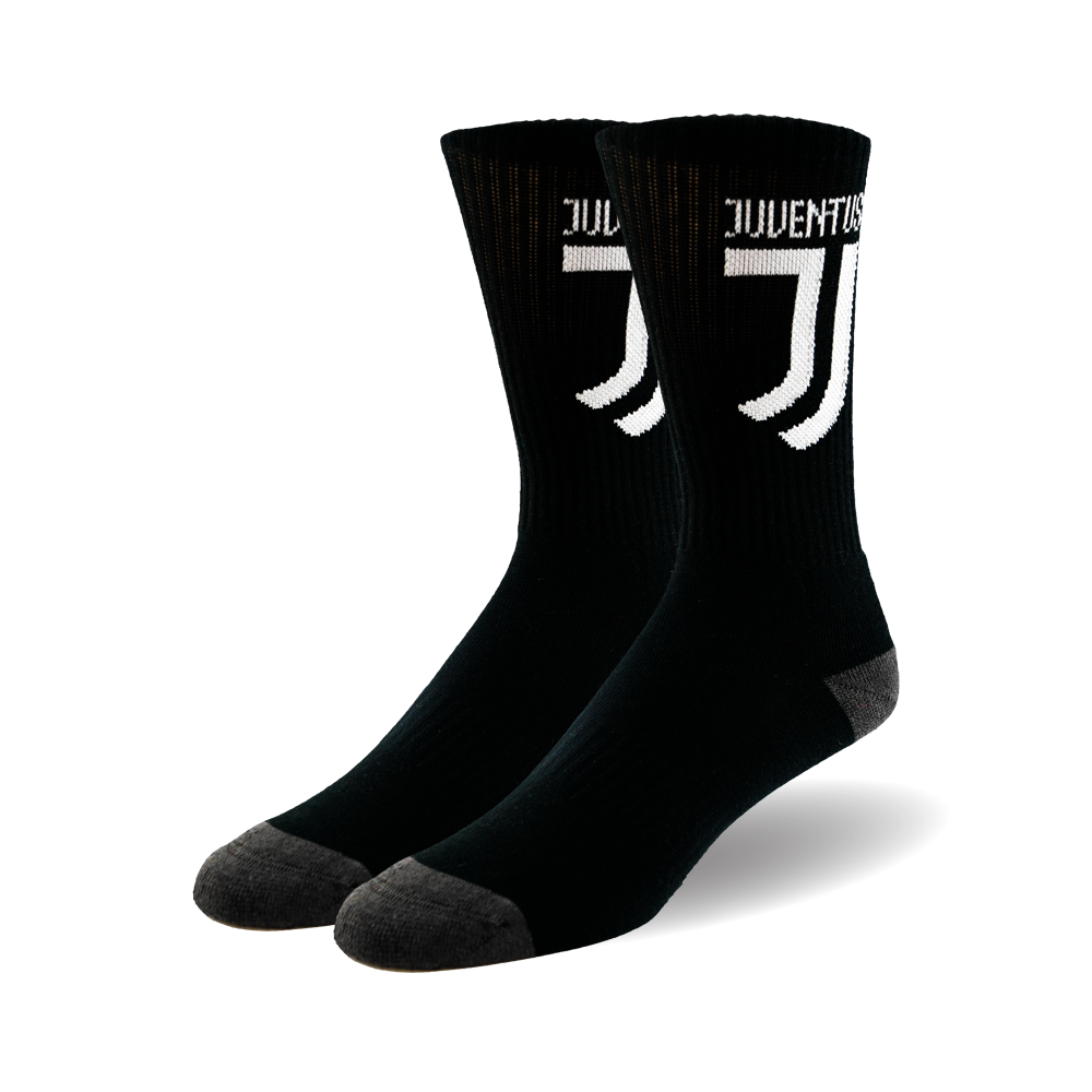 standing back socks pointing to the left with a custom white logo on the side
