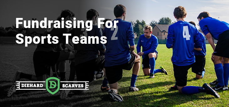 soccer teammates huddled around in a circle in the field on their knees. titled fundraising for sports teams.