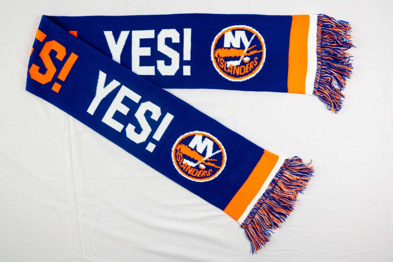Blue and orange folded New York Islanders freedom knit scarf designed by Diehard Custom