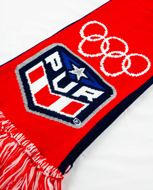 red Puerto Rico custom scarf with white Olympic rings designed by Diehard Custom
