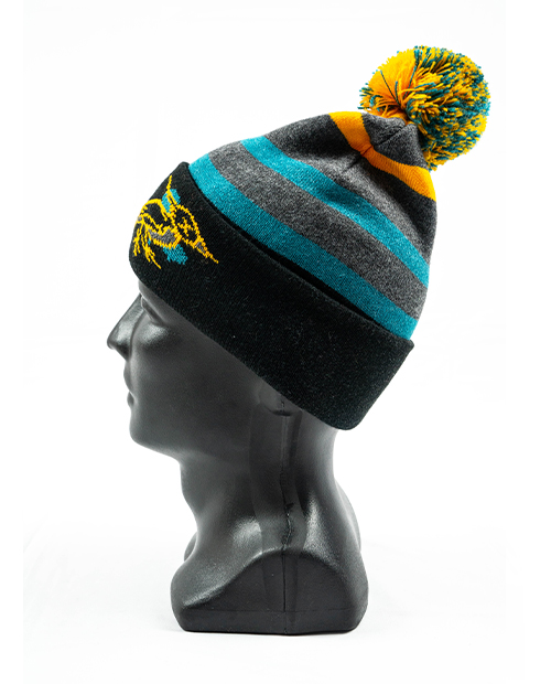side view of a grey mannequin wearing a black, gold and light blue pom beanie designed by Diehard Custom