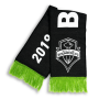 black and lime green Seattle Sounders Football Club HD Woven scarf designed by Diehard Custom