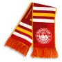 red, yellow and white striped HD woven scarf with Houston Gooners logo designed by Diehard Custom