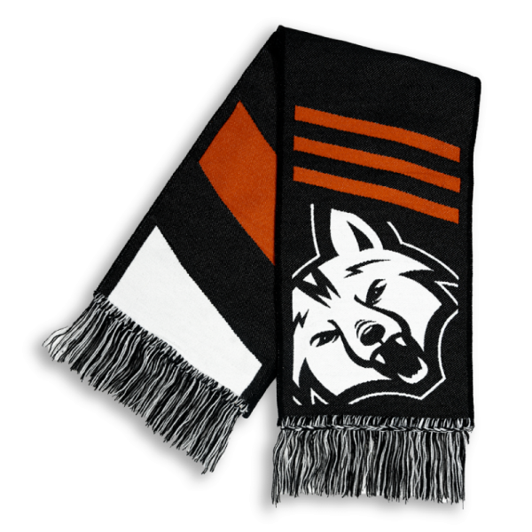 black, white and orange striped HD woven scarf with white bear logo designed by Diehard Custom