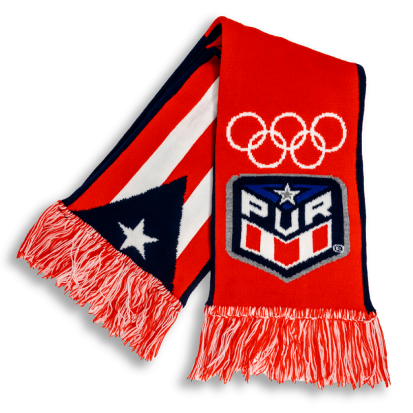 red, black and white Puerto Rico flag and Olympics symbol on a premier USA scarf designed by Diehard Custom