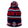 chaos quakertown soccer club red, white and blue custom pom beanie designed by Diehard Custom