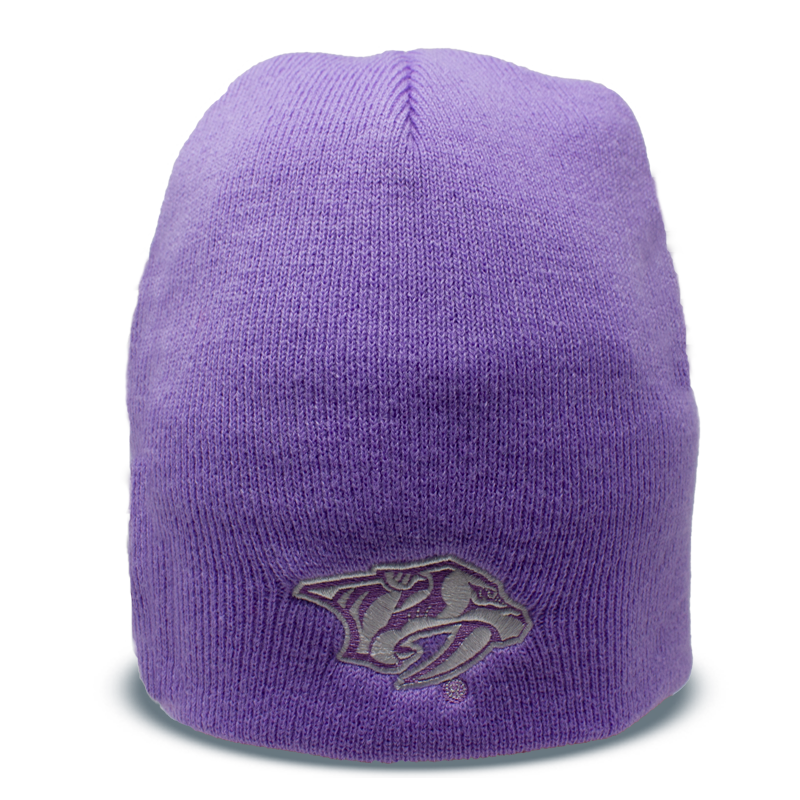 custom light purple beanie with saber-tooth tiger logo in the bottom center