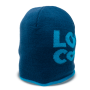 customized dark blue beanie standing up with light blue letters and trim