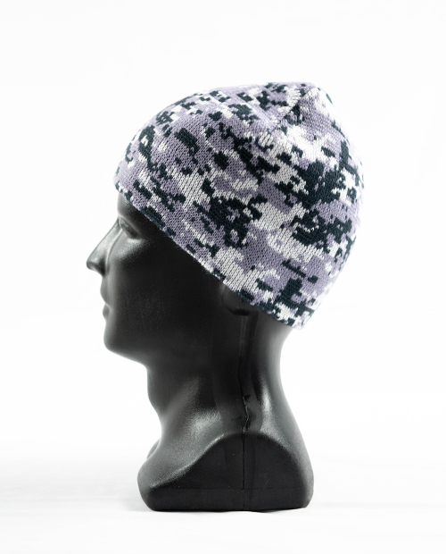 side view of black and grey digital camouflage simple beanie on a dark grey mannequin designed by Diehard Custom
