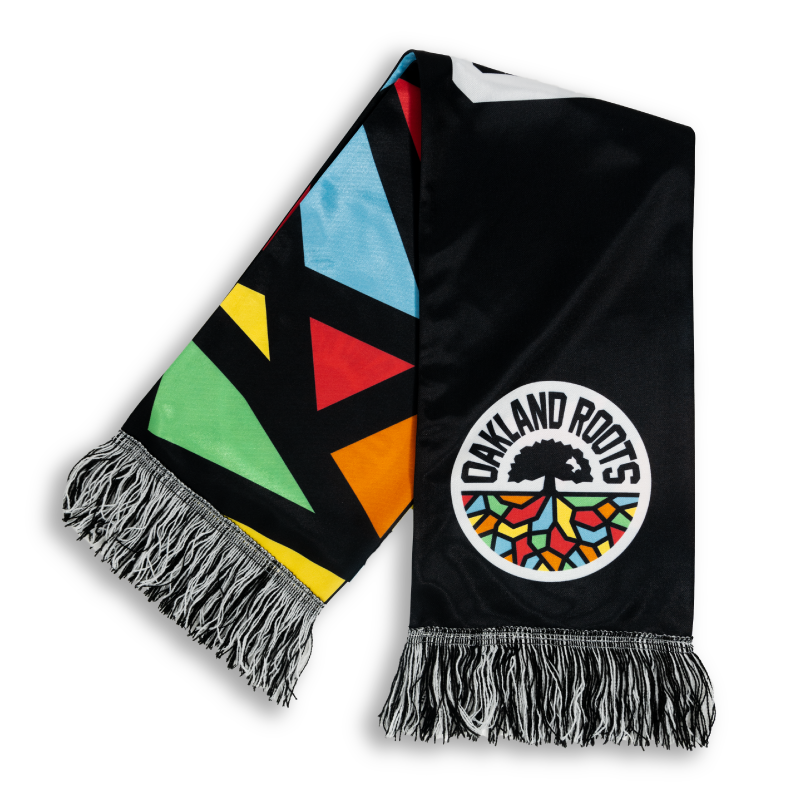 black and multicolored sleek print scarf with Orlando roots tree design logo designed by Diehard Custom