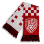 red and white checker print United Soccer Coaches sleek print scarf designed by Diehard Custom