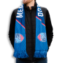 United Soccer Coaches sleek print scarf with geometric blue print with white letters and logos at each end designed by Diehard Custom