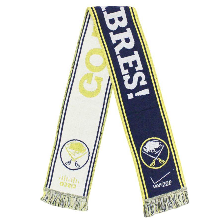 blue, white and yellow go sabres hockey scarf designed by Diehard Custom