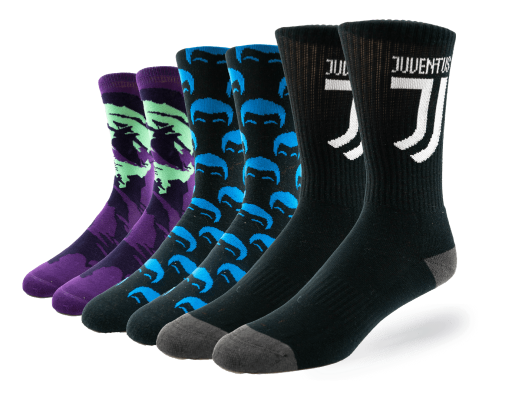 three pairs of socks standing up stacked in front of each-other designed by Diehard Custom