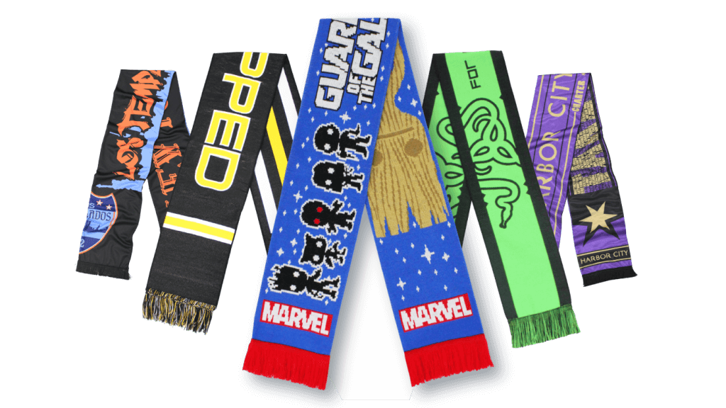 five multi-colored scarves stacked in front of each other with Marvel Guardians of the Galaxy in the front designed by Diehard Custom