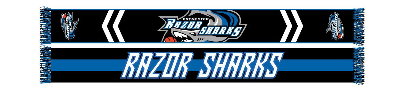 black, blue and white Rochester Razor Sharks basketball scarf designed by Diehard Custom