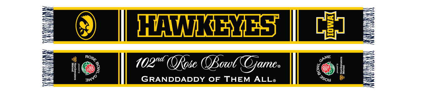black and gold front and back of Iowa football scarf