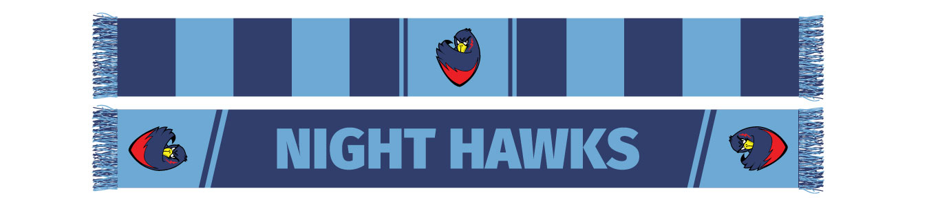 front and back of a blue striped Night Hawks sports scarf designed by Diehard Custom