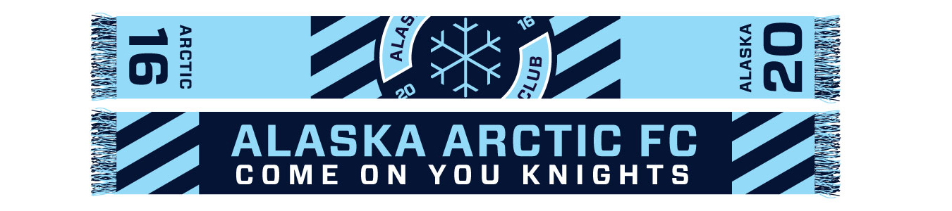 light and dark blue Alaska Arctic FC custom soccer scarf with snowflake