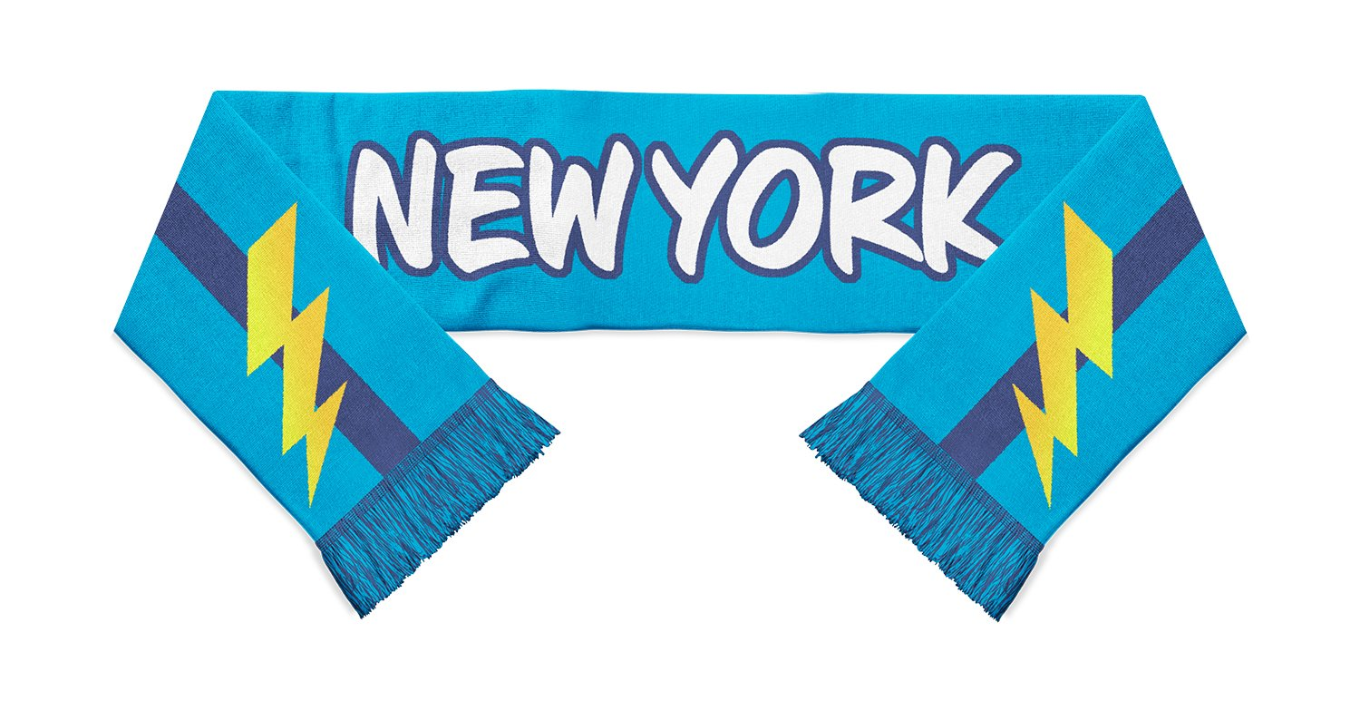 blue scarf with yellow lightning blots at each end with New York written in white in the center