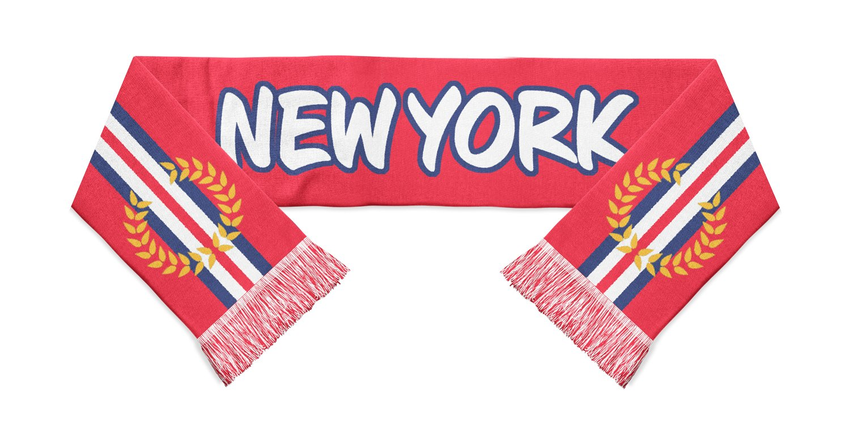 red, white and blue New York Red Bulls soccer scarf designed by Diehard Custom