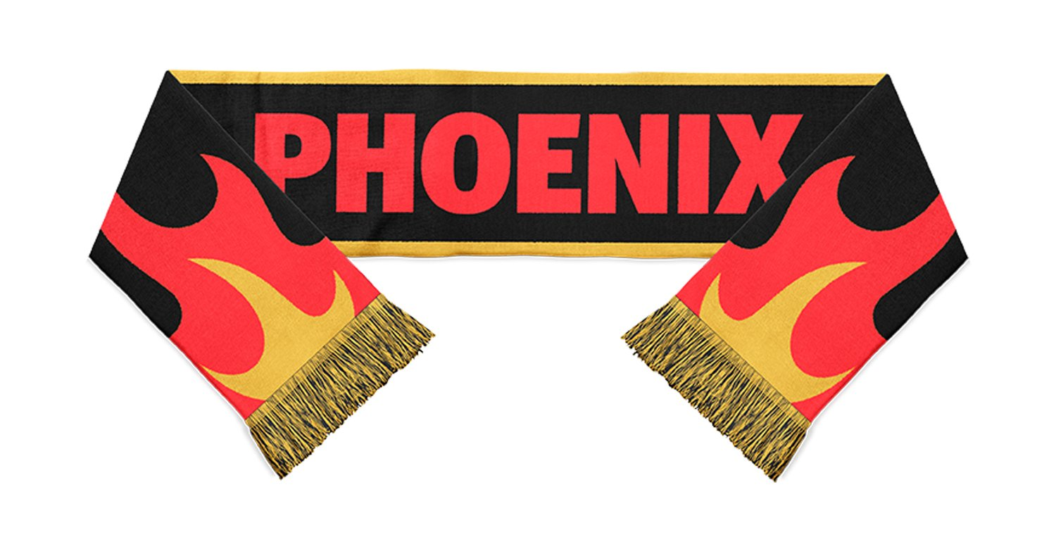 black, yellow and red phoenix written in red with flames